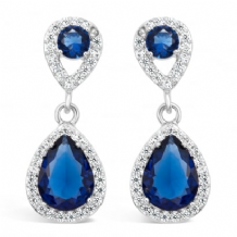 Imitation Rhodium Plated Earrings with White Cubic Zirconia and Glass Stones
